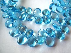 Swiss Blue Topaz Gemstone. Faceted Pear Briolettes, 6mm. Semi Precious Gemstone Briolette.  Packet of 2 ... (TTPSW) by luxbeads on Etsy