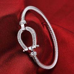 Sterling Silver Horse Shoe Bangle Bracelet