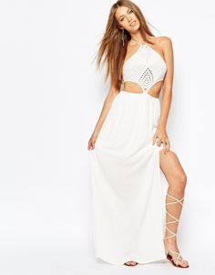 Missguided Crochet Halter Neck Cut Out Side Maxi