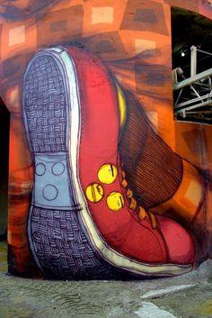 Os Gemeos Paints Six Enormous Silos,Vancouver, Canada