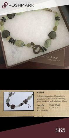 Silpada necklace N1995 Table display... 18'' prehnite, serpentine, chalcedony, quartz, kyanite, glass & Sterling. Silpada Jewelry Necklaces