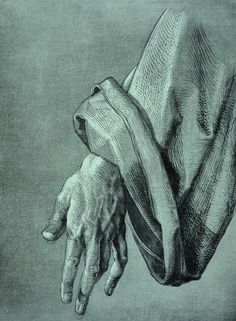 Albrecht Durer 'Study of the left hand of an apostle' for The Heller Altar (1508).