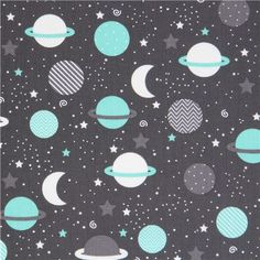 213667 dark grey Robert Kaufman fabric cute planet Space Explorers from modes4u on Etsy Studio