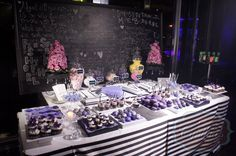 chalkboard  dessert table  candy buffet cake pops cup cakes macaroons & more