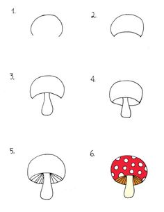 23_mushroom Art Doodle, Doodle Drawings, Easy Drawings, Drawing Lessons, Drawing Techniques, Art Lessons, Doodles Zentangles, Zentangle Patterns, Round Robin