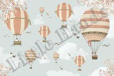 Little Hands Wallpaper Mural - World Map Travel II Nursery Wallpaper, Painting Wallpaper, Little Hands Wallpaper, World Map Travel, Balloon Rides, Create Awareness, Hand Illustration, Kidsroom, Balloons