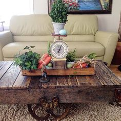 love every thing about this - the cart coffee table, the carrots, the scale, perfect
