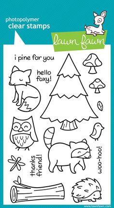 Lawn Fawn - Clear Acrylic Stamps - Critters in the Forest at Scrapbook.com