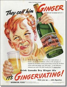 1938 Red Hair & Freckled Boy - Canada Dry Pale Ginger Ale vintage print-ad - ebay