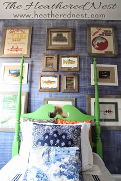 """Heathered Nest's """"hitchhiker"""" four poster bed makeover with Antibes Green chalk paint"""