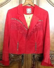 DOUBLE D RANCHWEAR Gorgeous RED Suede LEATHER Fringed Studded Jacket Sz L