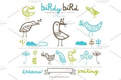 Birdy Bird (Clipart) Graphics A fun little collection of birds for just about any application you can think of. Delivered as large by Small Made Goods