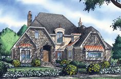 The Palmeri, Plan 1213. This European estate home offers every amenity! With a stone and stucco exterior, clipped gables, and an arched entryway, The Palmeri blends Old World style with a modern floor plan. http://www.dongardner.com/plan_details.aspx?pid=3515. #European #Cottage #Design