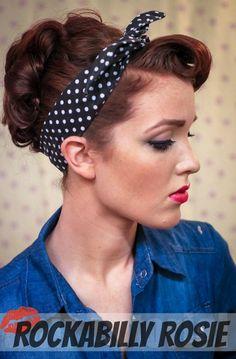 50s Gothic Punk Pin Up Bandana Gift 1 Rockabilly Hair Tie Skulls And Roses