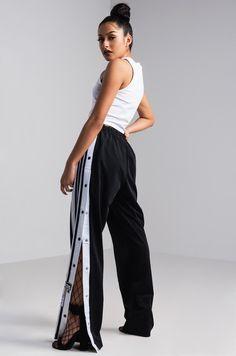 Side View Adidas Adibreak Track Pants in Black Carbon