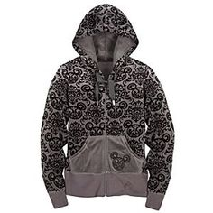 Velour Filigree Mickey Mouse Hoodie for Women