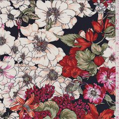 fashonfabricsclub.com-Dark Navy Floral Challis - 30815 - Fabric By The Yard At Discount Prices