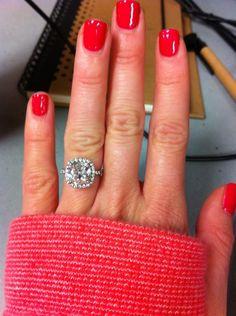 4 carat cushion cut pink sapphire with diamond halo