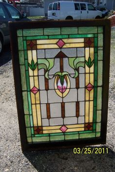 Antique Vintage Stained Glass Window Vibrant Colors | eBay