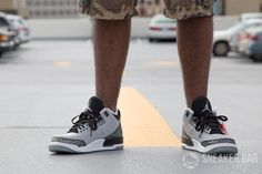 buy online 62b53 8ed61 100% Authentic Jordan 3 Retro Wolf Grey On Foot Jordan Outlet, Authentic  Jordans, ...