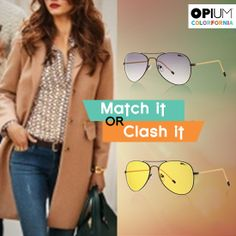 Would you sport an Aggressive golden shade or assume the gray-purple of a Quiet planner?  Which shade of our eyewear goes best with your personality? #MatchItorClashIt