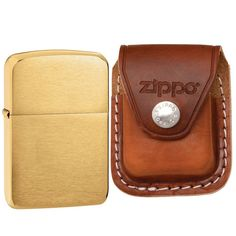 Zippo 1941B Replica Brushed Brass Plain Round Edges Windproof Pocket Lighter with Zippo Brown Leather Clip Pouch. This. Zippo. lighter. and. pouch.