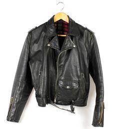 1980s Vintage Black Real Leather Heavy Crop Biker by FannyAdamsVC, $90.00