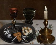 Still life with Venetian Glass, a romer and a candle by Clara Peeters, 1607. [Public domain], via Wikimedia Commons