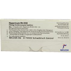 HYPERICUM RH D 30 Ampullen:   Packungsinhalt: 8X1 ml Ampullen PZN: 01623275 Hersteller: WELEDA AG Preis: 12,49 EUR inkl. 19 % MwSt. zzgl.…