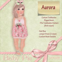 *Baby Pie* Aurora Shabby Vintage Floral Toddleedoo Bubble Skirt Complete Outfit!