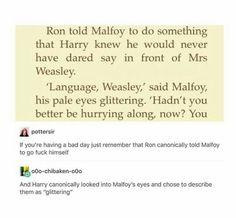 Ron Weasley , Draco Malfoy and Harry Potter's relationship Harry Potter Marauders, Harry Potter Ships, Harry Potter Universal, Harry Potter Fandom, Harry Potter World, Harry Potter Memes, Hogwarts, No Muggles, Yer A Wizard Harry