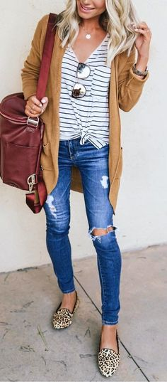 #fall #outfits distressed blue jeans