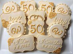 Golden Wedding Anniversary Cookies - Very 50th Anniversary Cookies, Anniversary Dessert, 50th Wedding Anniversary Decorations, Golden Wedding Anniversary, Anniversary Logo, Anniversary Parties, Anniversary Ideas, Wedding Decoration, Wedding Cookies
