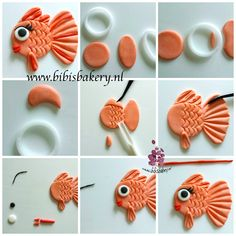 Here is my newest pictorial: fishie fish. Have fun. Fondant Toppers, Fondant Cakes, Cupcake Cakes, Cake Topper Tutorial, Fondant Tutorial, Cake Decorating Techniques, Cake Decorating Tutorials, Fondant Seashells, Fondant Fish