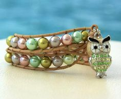 Little Owl... Leather beaded bracelet in trend color  by OceanBead, $56.00