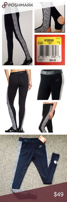 🆕NIKE Leg-A-See leggings, NWT! Size S New with tags! $60 retail price! Rare NIKE Leg A See stirrup leggings 🆕 * Mezzo black and white print on the sides *Stirrups at cuffs *Fitted fit - *Stretch waist *57% cotton - 32% polyester - 11% spandex * Nike swoosh logo at the front *NIKE on the stretchy waistband *full-length (long) * size S (Small) . Workout active pants # yoga # running # sports ❗️❗️❗️PLEASE VISIT MY CLOSET FOR MORE NIKE AND UNDER ARMOUR ATHLETIC APPAREL ❗️❗️❗️I'm accepting…