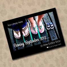 Pregnancy Announcement Photo Card. So cute! Dude needs to lose the flip flops though... :) #pregnancy #momtobe