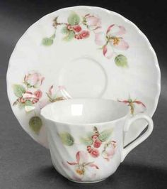 Wedgwood Apple Blossom Demitasse Cup & Saucer, no dimensions given. $35.99/pr at replacements.com on ebay, 2/2/16