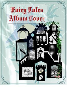 Fairy Tales Album Cover, Album cover, Fairy, Digital, Printable Graphics, Castle, Silhouette, Scrapbook, Scrap booking, Cover digital album