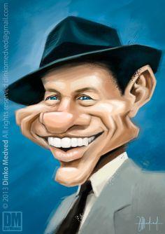 Frank Sinatra - Caricature by Dinko Medved Artworks, more info: https://www.facebook.com/DinkoMedvedArtworks #Frank #Sinatra #Caricature