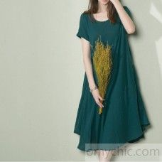 Top quality jade green linen sundress oversize summer shift dress loose caftan