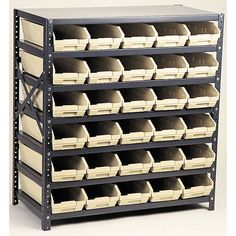 WFX Utility Jett Economy Shelf Storage Units with Bins Bin Color: Green, Bin Dimensions: H x 4 W x 11 D (qty. Ceiling Storage Rack, Storage Shelves, Storage Spaces, Shelving, Storage Units, Storage Systems, Storage Solutions, Lumber Storage Rack, Bin Storage