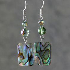 Abalone shell Earrings drop green purple dangle by AniDesignsllc, $12.95