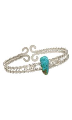 Jewelry Design - Cuff Bracelet with Turquoise Gemstone Bead and Wirework - Fire Mountain Gems and Beads