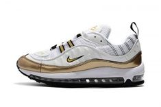 new arrival 58d35 6ec34 ... Running Shoes. Mens Nike Air Max 98 White Gold Athletic Sneakers Cheap Nike  Air Max, Nike Max