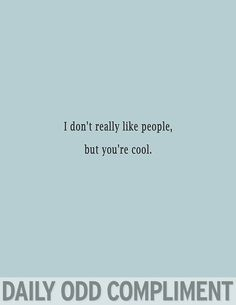 I don't really like people, but you're cool. -daily odd compliment.
