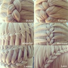 Six different types of three strand braids.