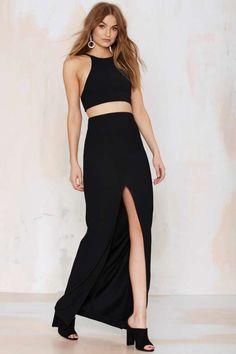 Solace London Sarah Ribbed Maxi Skirt - Clothes