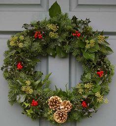 Christmas wreaths this year. Christmas Door Wreaths, Christmas Flowers, Christmas Makes, Holiday Wreaths, Christmas Time, Christmas Crafts, Holly Wreath, Christmas Arrangements, Christmas Wonderland
