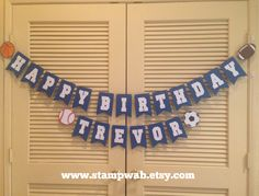 All Star -- All Sport Happy Birthday name banner! WWW.STAMPWAB.ETSY.COM